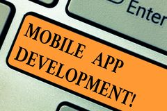 Handwriting text Mobile App Development. Concept meaning procedures involved in writing software for gadgets Keyboard