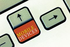 Handwriting text Mobile Devices. Concept meaning A portable computing device like smartphone tablet computer stock photography