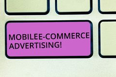 Handwriting text Mobile E Commerce Advertising. Concept meaning use of mobile devices in marketing brand Keyboard key. Intention to create computer message royalty free stock photography