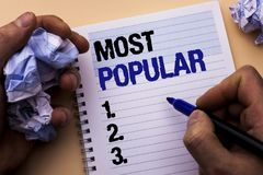 Handwriting text Most Popular. Concept meaning Top Rating Bestseller Favorite Product or Artist 1st in ranking written by Man on N. Handwriting text Most Popular Royalty Free Stock Photography