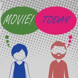 Handwriting text Movie. Concept meaning Cinema or television film Motion picture Video displayed on screen Bearded Man royalty free illustration