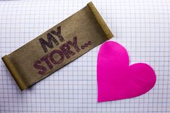 Handwriting text My Story.... Concept meaning Biography Achievement Personal History Profile Portfolio written on Cardboard Piece. Handwriting text My Story Royalty Free Stock Image