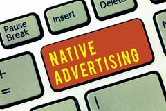 Handwriting text Native Advertising. Concept meaning Online Paid Ads Match the Form Function of Webpage.  stock images