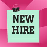 Handwriting text New Hire. Concept meaning someone who has not previously been employed by the organization Paper lines