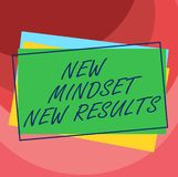 Handwriting text New Mindset New Results. Concept meaning Open to Opportunities No Limits Think Bigger Pile of Blank. Rectangular Outlined Different Color royalty free illustration