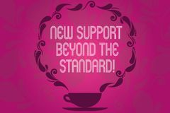 Handwriting text New Support Beyond The Standard. Concept meaning Excellent assistance useful service Cup and Saucer. With Paisley Design as Steam icon on Blank vector illustration