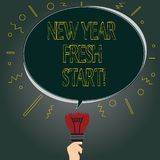 Handwriting text New Year Fresh Start. Concept meaning Motivation inspiration 365 days full of opportunities Blank Oval. Color Speech Bubble Above a Broken Bulb stock illustration