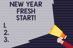 Handwriting text New Year Fresh Start. Concept meaning Time to follow resolutions reach out dream job Hand Holding. Handwriting text New Year Fresh Start vector illustration