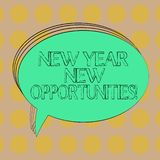 Handwriting text New Year New Opportunities. Concept meaning Fresh start Motivation inspiration 365 days Blank Oval Outlined Solid. Color Speech Bubble Empty stock illustration