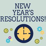 Handwriting text New Year S Resolutions. Concept meaning Goals Objectives Targets Decisions for next 365 days. Handwriting text New Year S Resolutions. Concept vector illustration