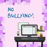 Handwriting text No Bullying. Concept meaning stop aggressive behavior among children power imbalance photo of Interior. Handwriting text No Bullying. Conceptual vector illustration
