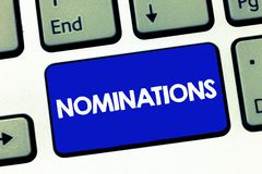 Handwriting text Nominations. Concept meaning Suggestions of someone or something for a job position or prize.  stock image
