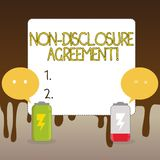 Handwriting text Non Disclosure Agreement. Concept meaning parties agree not disclose confidential information Fully. Handwriting text Non Disclosure Agreement royalty free illustration