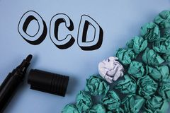 Handwriting text Ocd. Concept meaning Obsessive Compulsive Disorder Psychological Illness Medical Condition written on Plain Blue. Handwriting text Ocd. Concept Stock Image