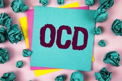 Handwriting text Ocd. Concept meaning Obsessive Compulsive Disorder Psychological Illness Medical Condition written on Sticky Note. Handwriting text Ocd. Concept Stock Photo