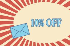 Handwriting text 10 Off. Concept meaning Discount of ten percent over regular price Promotion Sale Clearance.  stock illustration