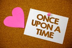 Handwriting text Once Open A Time. Concept meaning telling story Fairytale story Historical event Novel Hart love pink brown backg. Round love lovely thoughts stock images