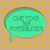 Handwriting text One Year 365 Possibilities. Concept meaning Fresh new start Opportunities Motivation Blank Oval Outlined Solid. Color Speech Bubble Empty Text vector illustration