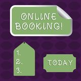 Handwriting text Online Booking. Concept meaning tool used to analysisage business travel through internet Blank Color stock illustration