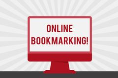 Handwriting text Online Bookmarking. Concept meaning used to save a URL address for future reference Blank Space Desktop. Handwriting text Online Bookmarking stock illustration
