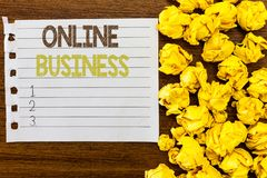 Handwriting text Online Business. Concept meaning Commercial transaction sharing information in the internet.  royalty free stock photo