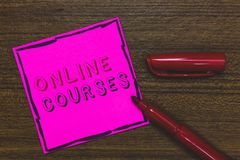Handwriting text Online Courses. Concept meaning Revolutionizing formal education Learning through internet Pink Paper Important r royalty free stock photo