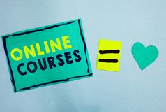 Handwriting text Online Courses. Concept meaning Revolutionizing formal education Learning through internet Turquoise paper notes. Reminders equal sign stock images