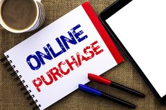 Handwriting text Online Purchase. Concept meaning Buy things on the net Go shopping without leaving home written on Notebook Book. Handwriting text Online royalty free stock photos