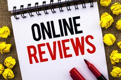 Handwriting text Online Reviews. Concept meaning Internet Evaluations Customer Rating Opinions Satisfaction written on Notebook Bo. Handwriting text Online Royalty Free Stock Photo