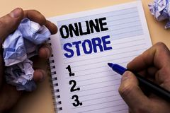 Handwriting text Online Store. Concept meaning Internet related business Website where you can buy in the net written by Man on No. Handwriting text Online Store Royalty Free Stock Image
