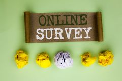 Handwriting text Online Survey. Concept meaning Digital Media Poll Customer Feedback Opinions Questionnaire written on Cardboard P. Handwriting text Online Royalty Free Stock Photography