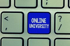 Handwriting text Online University. Concept meaning Distance Learning Courses are taken over the internet.  stock photos