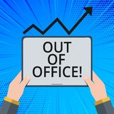 Handwriting text Out Of Office. Concept meaning Outside the job Nobody in business Break Leisure Relax time. Handwriting text Out Of Office. Concept meaning vector illustration
