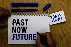 Handwriting text Past Now Future. Concept meaning Last time Present Following actions Destiny Memories Man holding marker notebook. Clothespin reminder wooden royalty free stock photo