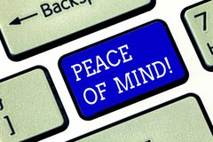 Handwriting text Peace Of Mind. Concept meaning To be peaceful happy with things you have done and accomplish Keyboard. Key Intention to create computer message royalty free stock photo
