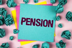 Handwriting text Pension. Concept meaning Income seniors earn after retirement Saves for elderly years written on Sticky Note Pape. Handwriting text Pension Royalty Free Stock Photo