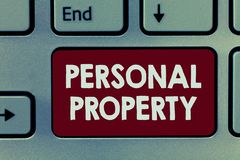 Handwriting text Personal Property. Concept meaning Things that you own and can take it with you Movable royalty free stock photography