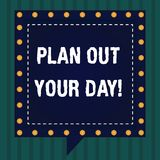 Handwriting text Plan Out Your Day. Concept meaning Make an schedule of activities to do everyday be organized Square. Speech Bubbles Inside Another with Broken royalty free illustration