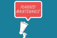 Handwriting text Planned Maintenance. Concept meaning Check ups to be done Scheduled on a Regular Basis