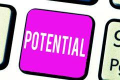 Handwriting text Potential. Concept meaning Latent qualities abilities capacity to develop in the future.  stock images