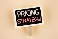 Handwriting text Pricing Strategy. Concept meaning Marketing sales strategies profit promotion campaign written on Wooden Notice B. Handwriting text Pricing Stock Photography