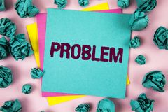Handwriting text Problem. Concept meaning Trouble that need to be solved Difficult Situation Complication written on Sticky Note P Royalty Free Stock Image