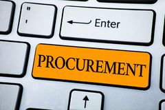 Handwriting text Procurement. Concept meaning Obtaining Procuring Something Purchase of equipment and supplies written on Orange K royalty free stock images