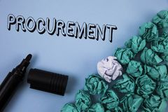 Handwriting text Procurement. Concept meaning Obtaining Procuring Something Purchase of equipment and supplies written on Plain Bl. Handwriting text Procurement Stock Photography