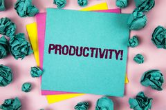 Handwriting text Productivity Motivational Call. Concept meaning Effective work Great perfomance Success focus written on Sticky N stock image