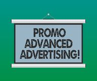 Handwriting text Promo Advanced Advertising. Concept meaning inform target audiences the merits of a product Blank. Portable Wall Hanged Projection Screen for royalty free illustration