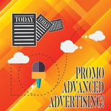 Handwriting text Promo Advanced Advertising. Concept meaning inform target audiences the merits of a product Information. And Documents Passing thru Cloud royalty free illustration