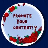 Handwriting text Promote Your Content. Concept meaning inform or persuade target audiences about the product Hand Drawn. Lamb Chops Herb Spice Cherry Tomatoes stock illustration