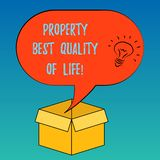 Handwriting text Property Best Quality Of Life. Concept meaning Purchasing your own house apartment space Idea icon Inside Blank stock illustration