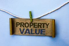 Handwriting text Property Value. Concept meaning Estimate of Worth Real Estate Residential Valuation written on Cardboard Paper ha. Handwriting text Property stock images